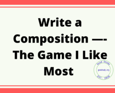 Write a Composition —- The Game I Like Most