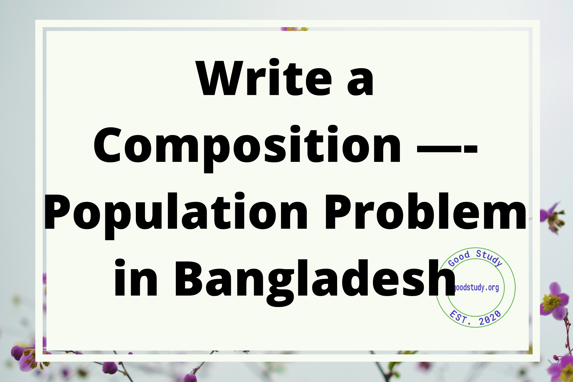 Population Problem in Bangladesh