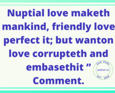 Nuptial love maketh mankind