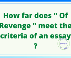 "How far does "" Of Revenge "" meet the criteria of an essay ?"